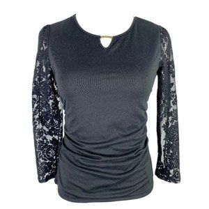 By & By Black Ruched Keyhole Neck Lace Sleeve Top